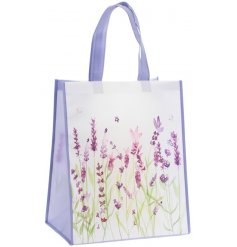 Practical fabric shopping bag decorated with lavender print