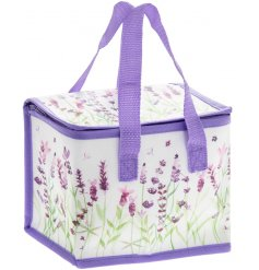 Practical insulated lunch bag with stylish purple lavender design print