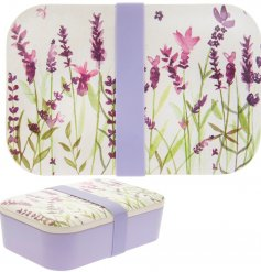 On trend bamboo lunch box with attractive purple lavender print