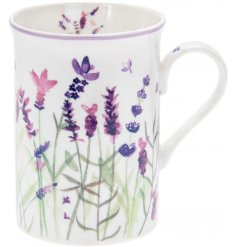 Attractive tall purple lavender print fine china mug