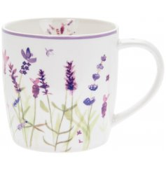 Ceramic mug with D-shaped handle and purple lavender embellishment