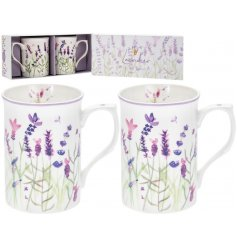 Giftboxed set of 2 fine china mugs with delicate Purple Lavender design motif