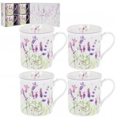 Set of 4 lavender print china mugs in matching gift box