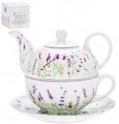 Ceramic tea for one set, decorated with lavender print design - includes mini teapot, cup and saucer
