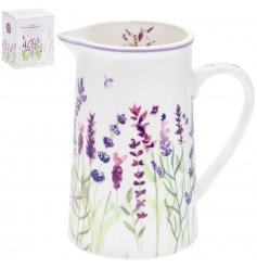 China Jug with Lavender Garden print 14 cm