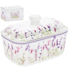 Traditional ceramic butter dish embellished with attractive lavender print design