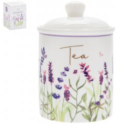 Traditional ceramic kitchen storage container for tea, embellished with pretty lavender print