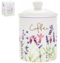 traditional ceramic coffee storage jar with lavender decoration