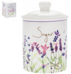 Attractive ceramic sugar storage container with lovely lavender embellishment