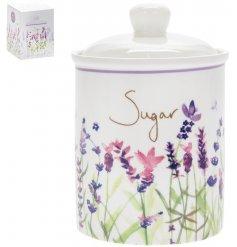 Pretty lavender print ceramic kitchen storage pot for sugar