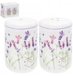Classic ceramic salt & pepper pots with lavender design
