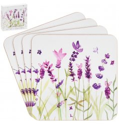 Giftboxed set of 4 cork backed coasters, embellished with purple lavender design