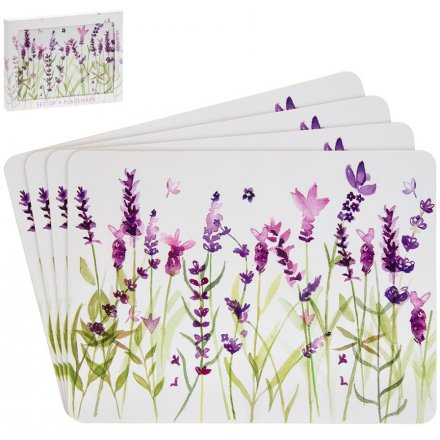Set of 4 Lavender Garden Placemats
