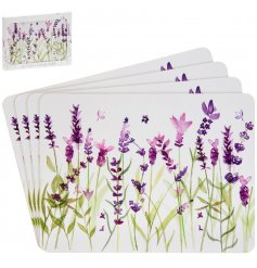 Pretty giftboxed set of 4 cork backed placemats with Purple Lavender design
