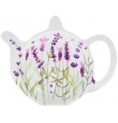 Plastic teabag tidy with purple lavender print