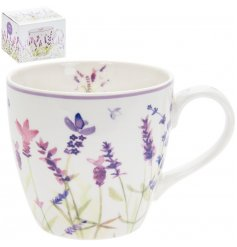 Pretty Jumbo purple lavender print ceramic breakfast mug