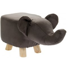 An enchanting and unique Elephant design footstool with wooden feet.