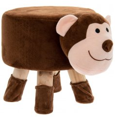 A cute little monkey themed stool with added protected feet to stop floor scratches