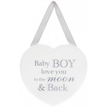 White Heart Plaque - Baby Boy