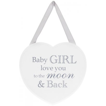 Heart Shaped Plaque with Baby Girl message