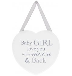 Delightful Heart shaped Plaque with sweet Baby Girl message