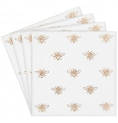 A delightful set of mirrored coasters,  perfectly decorated with a shimmery golden bee decal