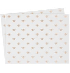 A set of 2  beautifully decorated mirrored placemats with a Golden Bee decal and sparkly finish