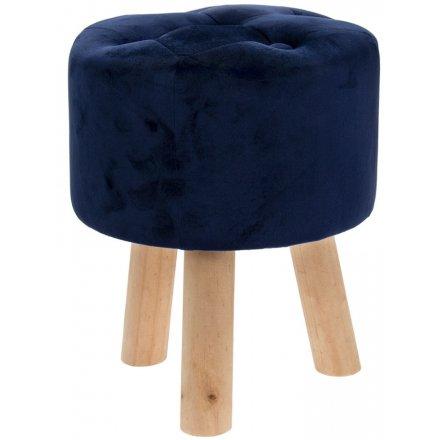 38 cm Blue Velvet Stool