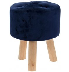 Elegant stool upholstered in navy blue velvet, measuring approx 38 cm