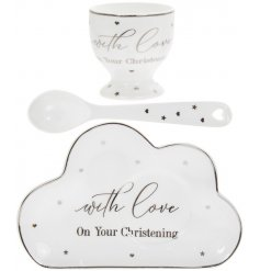 Cute ceramic plate, eggcup and spoon gift set as part of the Mad Dots Christening range