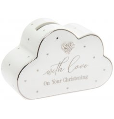 A cute modern take on the traditional Christening gift of a Money Box.