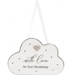 This delightful christening plaque features a sweet message on the cloud design with diamante heart embellishment