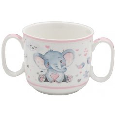 2 hands baby mug from Bird & Ellie giftware range in pink
