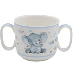 Baby Mug with 2 handles for extra stability in little hands. This blue mug is part of the Bird & Ellie range of giftware