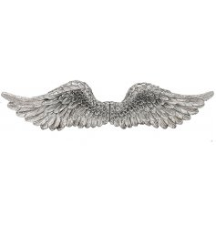 Stylish wall art angel wings in silver polyresin 51 cm