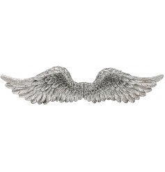 Polyresin angel wings wall hanging silver 84 cm