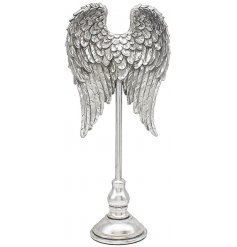 Polyresin silver angel wings on a single display stand.