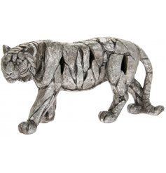 A beautiful posed Tiger ornament set with a rustic silvered Natural World decal