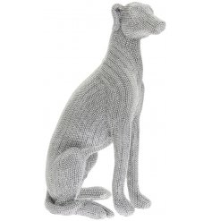 Glittery silver sitting greyhound statue - large (41 cm tall)