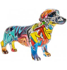 this ornamental Dachshund with a Graffiti Art decal will be sure to tie in with any quirky themed home