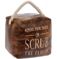 Vintage look cube shaped faux leather doorstop with quirky slogan