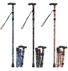 Convenient Floral Folding Walking Stick - choose between 3 colour schemes