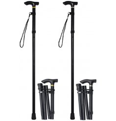 Folding aluminium black walking stick