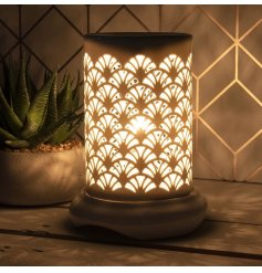 A gorgeously simple white toned Electric Wax Burner featuring a beautiful Art Deco cut decal