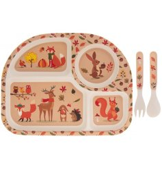 Eco friendly bamboo kids eating set with fun woodland print design