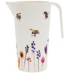 A bamboo based serving jug with a beautifully printed Busy Bee Garden themed decal