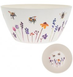 A bamboo based Salad Bowl with a beautifully printed Busy Bee Garden themed decal