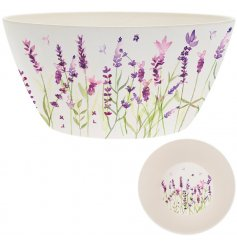 Eco Friendly bamboo salad bowl with pretty lavender design