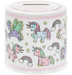 Cute Unicorn print ceramic money box