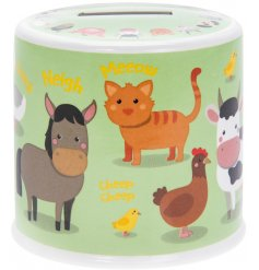 Ceramic money box with cute farmyard animal print decal